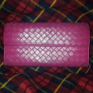 Long bottega veneta hot pink leather intrecciato